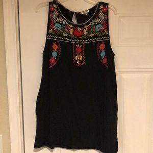 Jodifl embroidered women's dress sz. L w/pockets